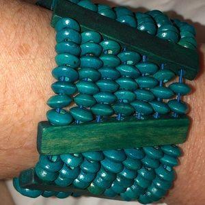 Boho Turquoise Wood Bead Bracelet